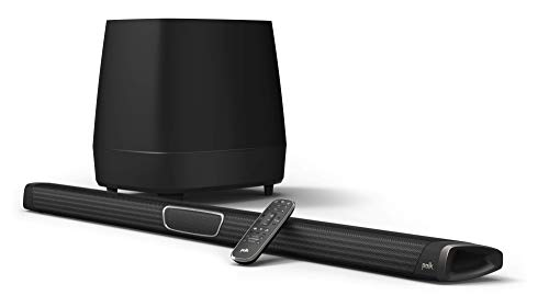 Polk Audio MagniFi Max Home Theater Sound Bar with 5.1 Dolby Digital Experience | Works with 4K & HD TVs | HDMI & Optical Cables, Wireless Subwoofer Included Black