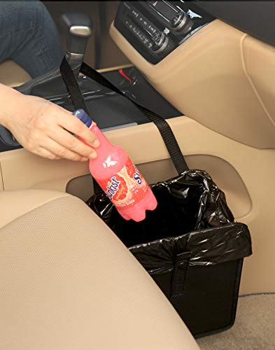 KMMOTORS Comfortable car Garbage can Useful car Wastebasket Multi-Functional Artificial Leather and Oxford Clothes car Organizer Enough Storage for Garbage (1. Jopps Garbage can)