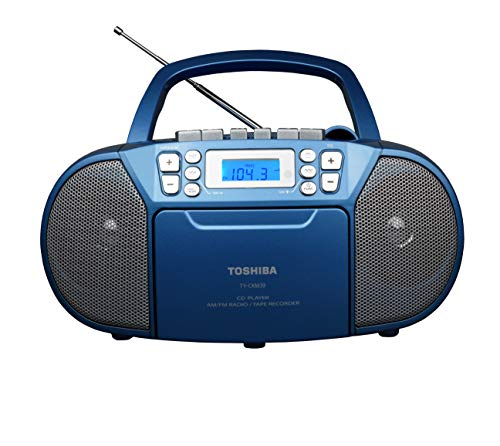 Toshiba TY-CKM39(L) Portable MP3 CD Cassette Boombox with AM/FM Stereo and Aux Input Metallic Blue
