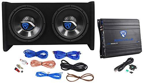 Rockville RV10.2B 1000w Dual 10' Car Subwoofer Enclosure+Mono Amplifier+Amp Kit