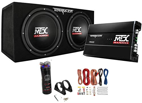 MTX Dual 12' Subwoofers and Amplifier Package with AKS8 Wiring Kit & Capacitor