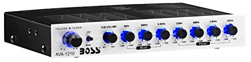 BOSS Audio Systems EQ1208 4 Band Pre-Amp Half-DIN Car Equalizer, Subfoofer Output, Dual Color Illumination