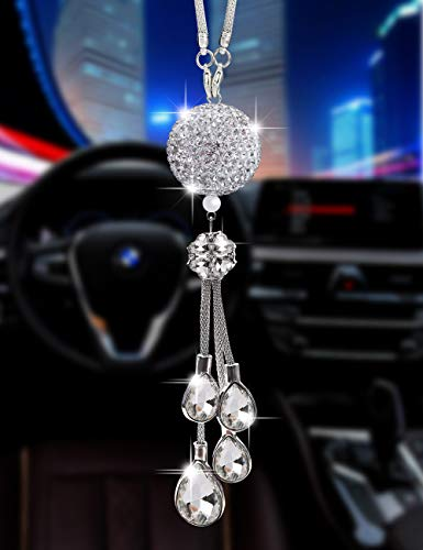 Bling Car Accessories for Women and Man,Cute Car Decor for Women ,Lucky Crystal Sun Catcher Ornament,Rear View Mirror Crystal Ball Charm Decor (30 mm Clear) (White)