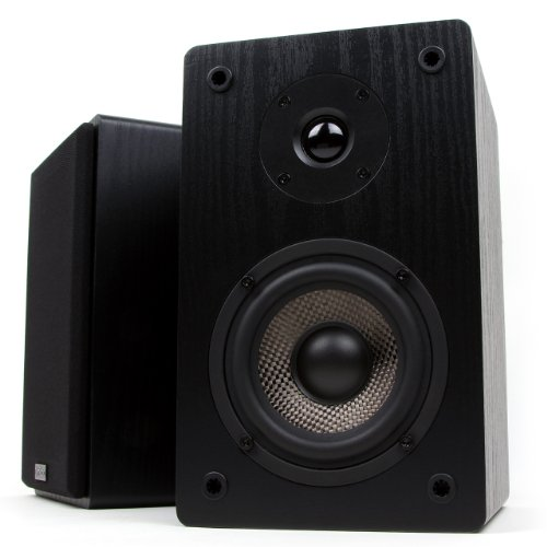 Micca MB42 Bookshelf Speakers, Passive, Not for Turntable, Needs Amplifier or Receiver, 4-Inch Carbon Fiber Woofer and Silk Dome Tweeter (Black, Pair)