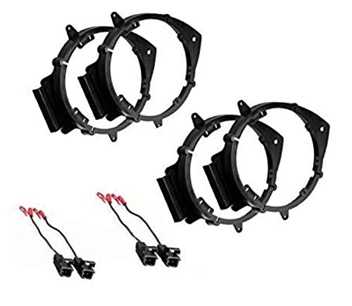 ASC Audio 2 Pair 6+-Inch 6' 6.5' 6.75' Car Speaker Install Adapter Mount Bracket Plates w/Speaker Wire Connectors Compatible with Select GM GMC Vehicles- See below for compatible vehicles