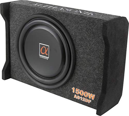 Alphasonik AS12DF 12' 1500 Watts 4-Ohm Down Fire Shallow Mount Flat Enclosed Sub woofer for Tight Spaces in Cars and Trucks, Slim Thin Loaded Subwoofer Air Tight Sealed Bass Enclosure