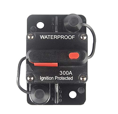 WOHHOM 300 Amp Circuit Breaker with Manual Reset 12V-36V DC Waterproof Surface Mount for Car Audio Rv Marine Boat Truck Trolling Motors, 30-300A Car Speaker Resettable Fuse