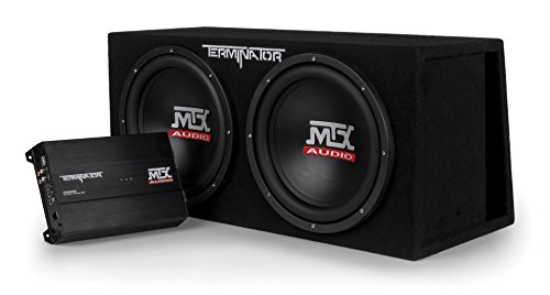 MTX Audio TNP212DV Dual 12' Subwoofer Vented Enclosure with Amplifier, Black