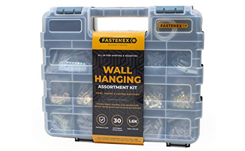 Fastenex Hang n' Mount! 1650 pc Picture Hanging Kit Heavy Duty Picture Hangers with Mounting Screws Assortment, Wall Anchors and Hardware Organizer, Hanging Hooks, Nails for Hanging Pictures