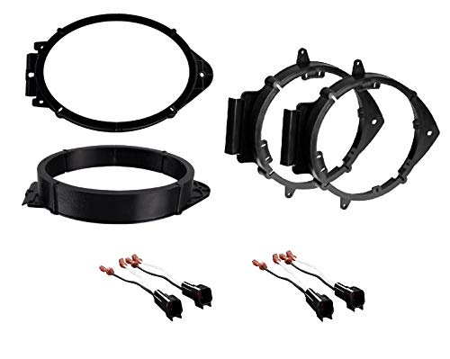 ASC Premium 6x9 Front + 6+-Inch 6' 6.5' 6.75' Rear Car Speaker Install Adapter Mount Bracket Plates w/Speaker Wire Connectors for Select GM GMC Vehicles- See Below for Compatible Vehicles