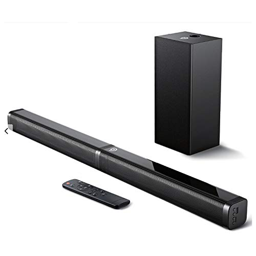 Bomaker Sound Bar with Subwoofer, Ultra-Slim 2.1 CH Sound Bars for TV, 100W/110dB, 5 EQ Modes, 31 Inch, Works with 4K & HD & Smart TV, LED Display, Outdoor Surround Sound, Optical/Aux/USB