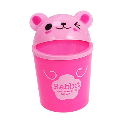 Toyvian Mini Trash Can with Lid - Cute Animal Desktops Trash Can, Rubbish Storage, Garbage Bin for Office Kids Bedroom Use (Rabbit)
