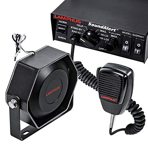 SoundAlert 12V 100W Police Siren PA System [Slim Speaker] [118-124dB] [Handheld Microphone] [Hands-Free] [2 x 20A Switches] Warning Emergency Siren for Vehicles Truck UTV ATV Car POV