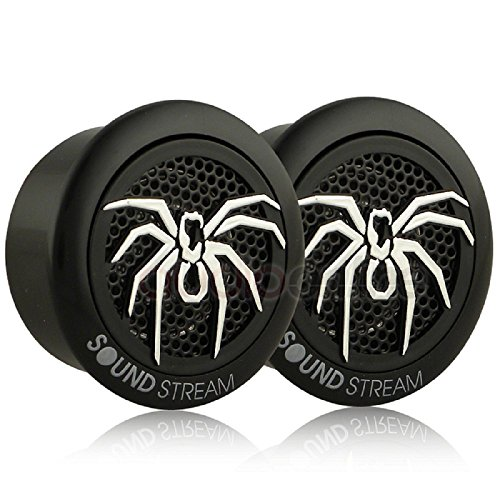 Soundstream TWS.3N 110 Watts 1-Inch PEI Dome 4 Ohm Tweeters,Black and Silver