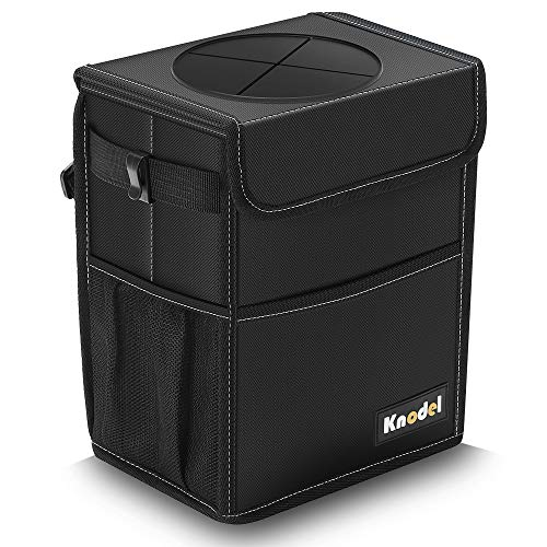Knodel Car Trash Can, Waterproof Auto Garbage Bag, Car Trash Can with Lid, Leak-Proof Car Storage Bag, Auto Garbage Bag Hanging (Medium, Black)