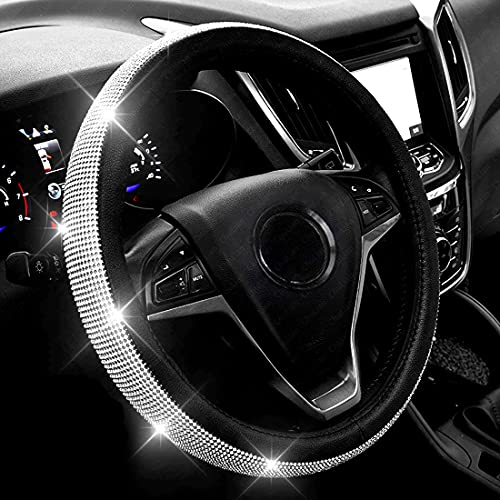 New Diamond Leather Steering Wheel Cover with...