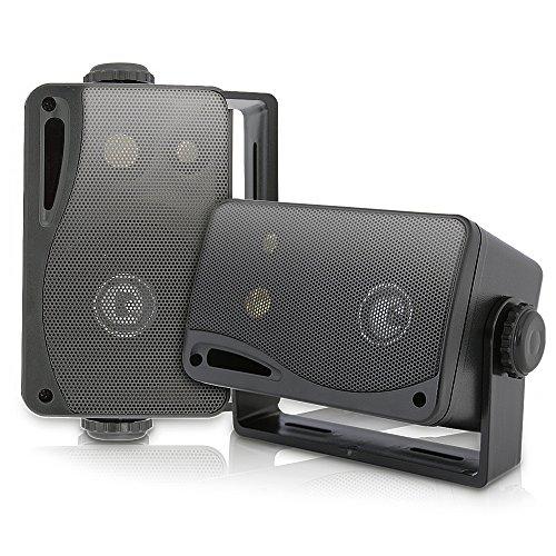 3-way Mini Box Speaker System - 3.5 Inch 200 Watt Weatherproof Marine Grade Mount Speakers - in a Heavy Duty ABS Enclosure Grill - Home, Boat, Poolside, Patio Indoor Outdoor Use - Pyle PLMR24B (Black)