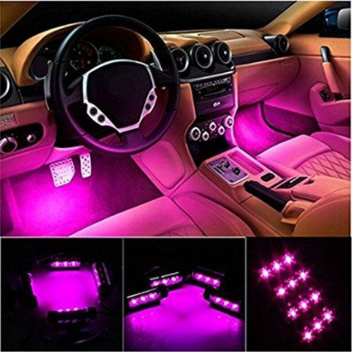 Car LED Strip Light, EJ's SUPER CAR 4pcs 36 LED Car Interior Lights Under Dash Lighting Waterproof Kit,Atmosphere Neon Lights Strip for Car,DC 12V(Pink)