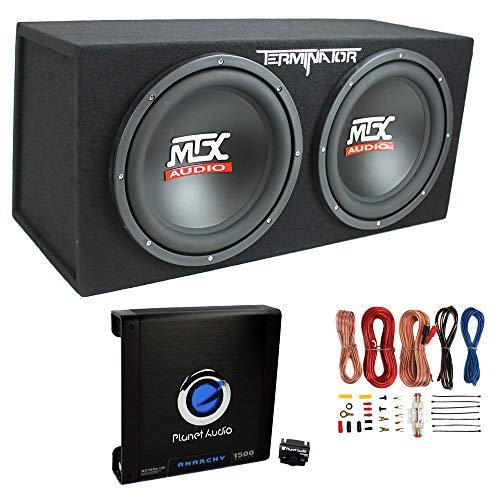 MTX TNE212D 12' 1200W Dual Loaded Car Subwoofers + Box + Planet 1500W Amp + Kit