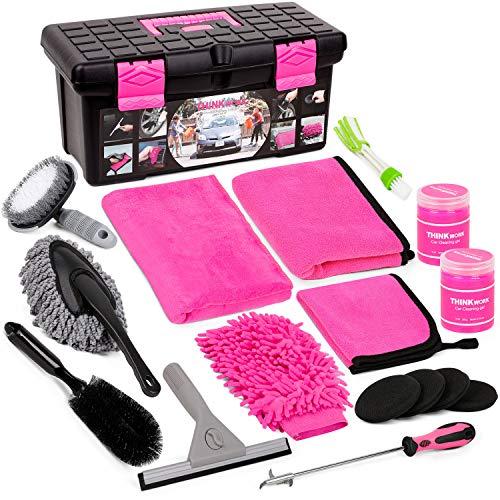 Car Wash Kit, Pink Car Cleaning Kit Interior...
