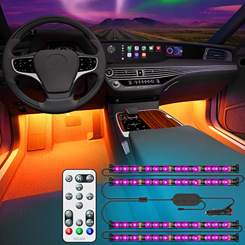 Govee Interior Car Lights, Interior Car LED Lights with Remote and Control Box, Two-Line Design RGB Car Interior Light with 32 Colors, Music Sync for Various Car DC 12V