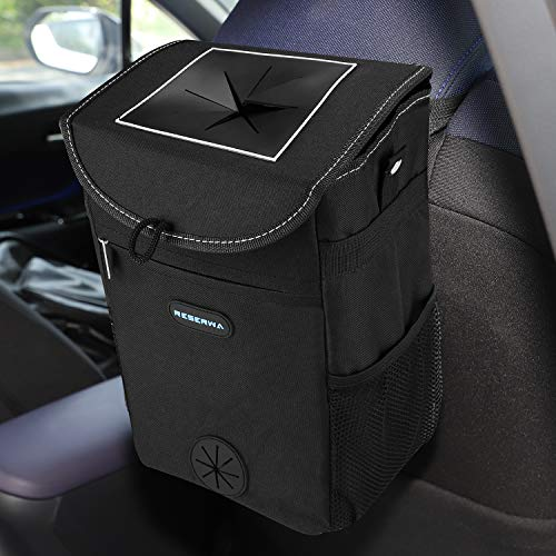 Reserwa Car Trash Can with Lid and Storage Pocket Leakproof Car Garbage Can Portable Auto car trash bag Hanging or Mounting In Car 2 Gallon Car Organizer with Adjustable Straps Storage Car Accessories