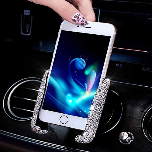 Bling Car Phone Holder Mini Car Dash Air Vent Automatic Phone Mount Universal 360°Adjustable Crystal Auto Car Stand Phone Holder Car Accessories for Women and Girls (White)