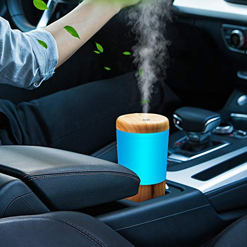 Car Diffuser Essential Oil Humidifier, USB Plug in Mini Portable Aromatherapy Car Oil Diffusers, Cool Mist Fragrance Cup Holder Ultrasonic Car Humidifiers for Vehicle Office Travel Home Desk - Wood