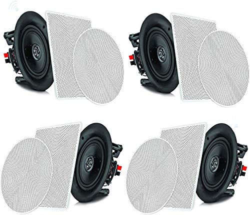"Pyle 6.5"" 4 Bluetooth Flush Mount In-wall In-ceiling 2-Way Speaker System Quick Connections Changeable Round/Square Grill Polypropylene Cone & Tweeter Stereo Sound 4 Ch Amplifier 200 Watt (PDICBT266)"